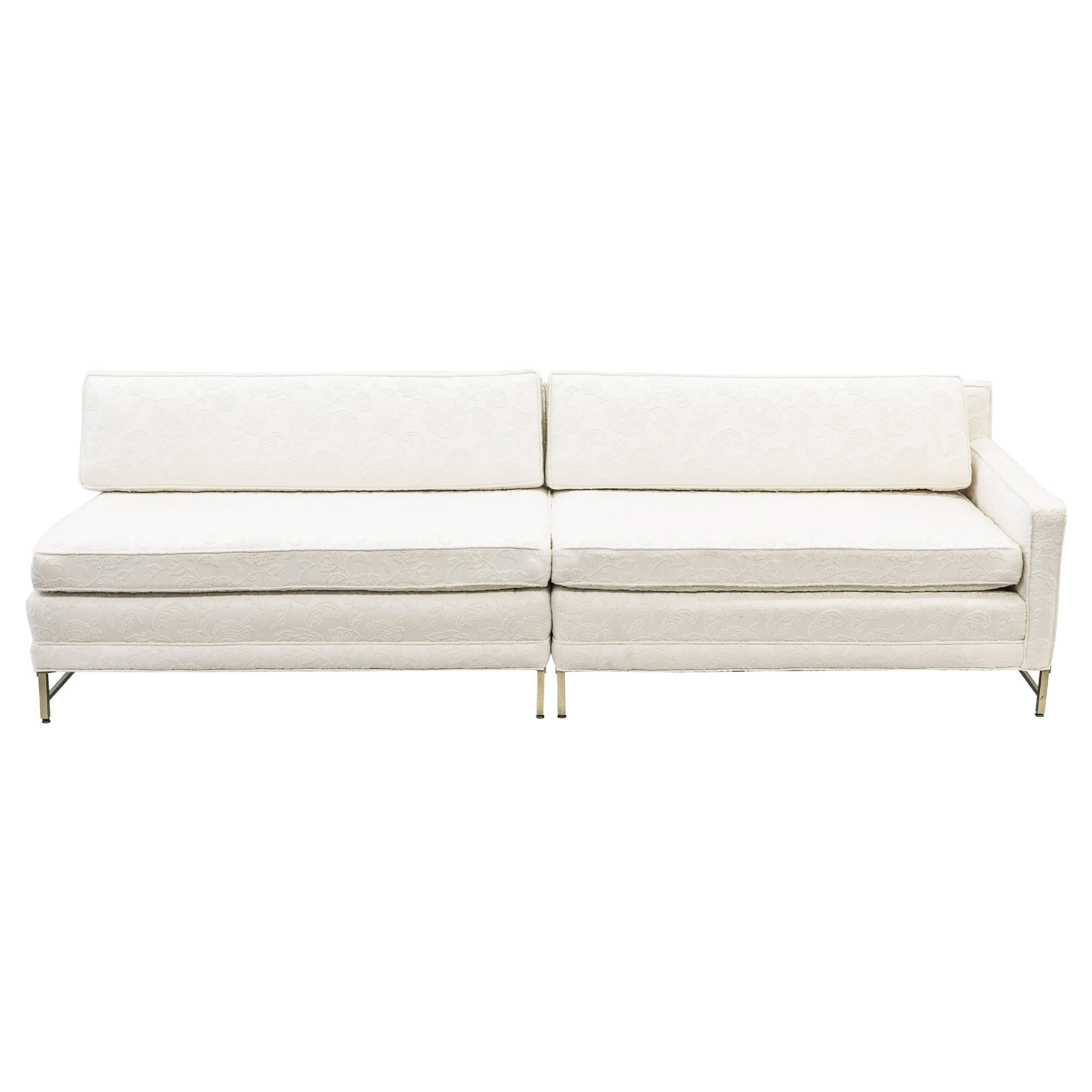 Paul McCobb for Directional Two-Piece Cream White Sectional Sofa, 1958, Brass