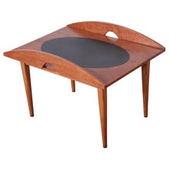 Paul McCobb for Lane Mid-Century Modern Walnut and Leather Occasional Side Table