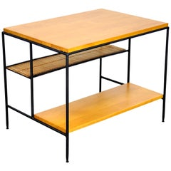 Paul McCobb Iron, Maple and Bamboo Side Table