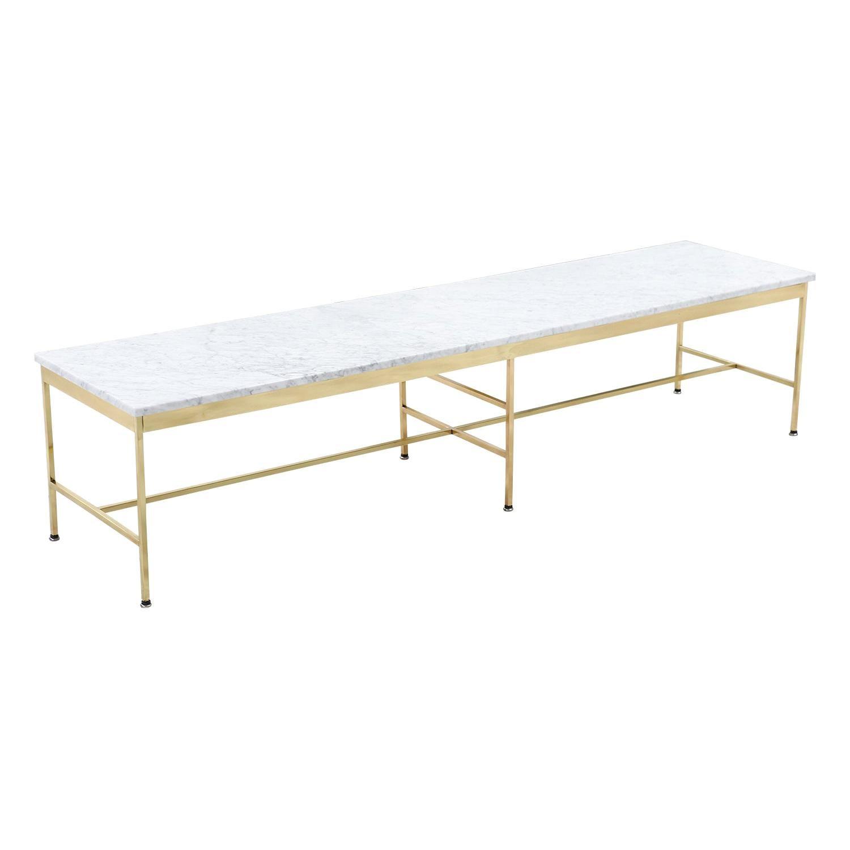 "Paul McCobb ""Irwin Collection"" Carrara Marble & Brass Coffee Table for Calvin F."