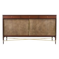"Paul McCobb ""Irwin Collection"" Credenza with Brass Accents and Leather Doors"