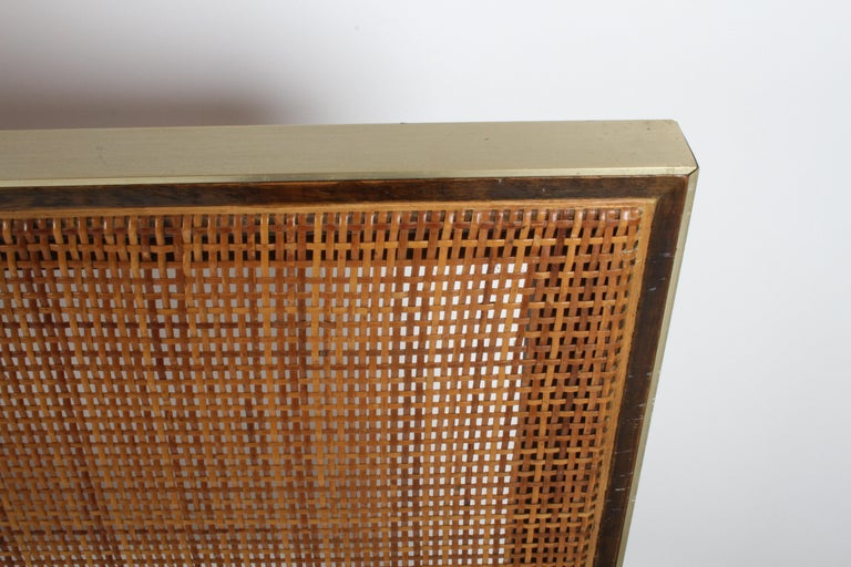 Anodized Paul McCobb King Headboard for Calvin with Caned Panels For Sale
