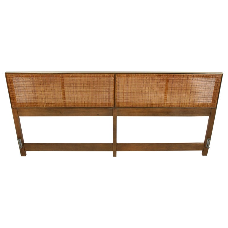 Paul McCobb King Headboard for Calvin with Caned Panels For Sale