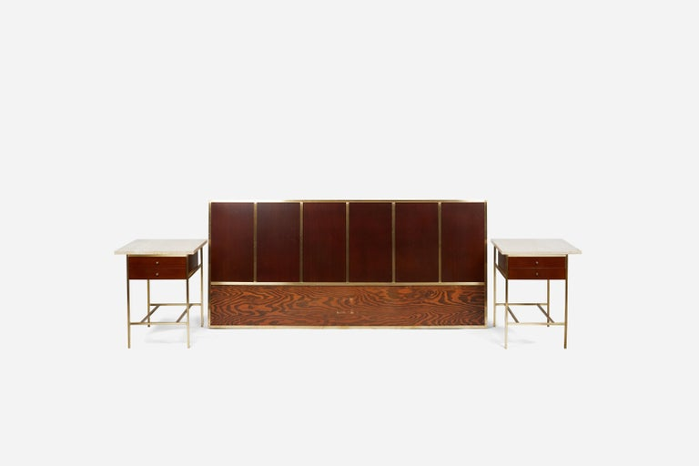 Brass frame headboard with mahogany panels. Fully restored and refinished in dark walnut. Designed by Paul McCobb for Calvin Furniture.