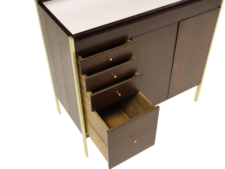 American Paul McCobb Locking Bar Cabinet Dresser For Sale