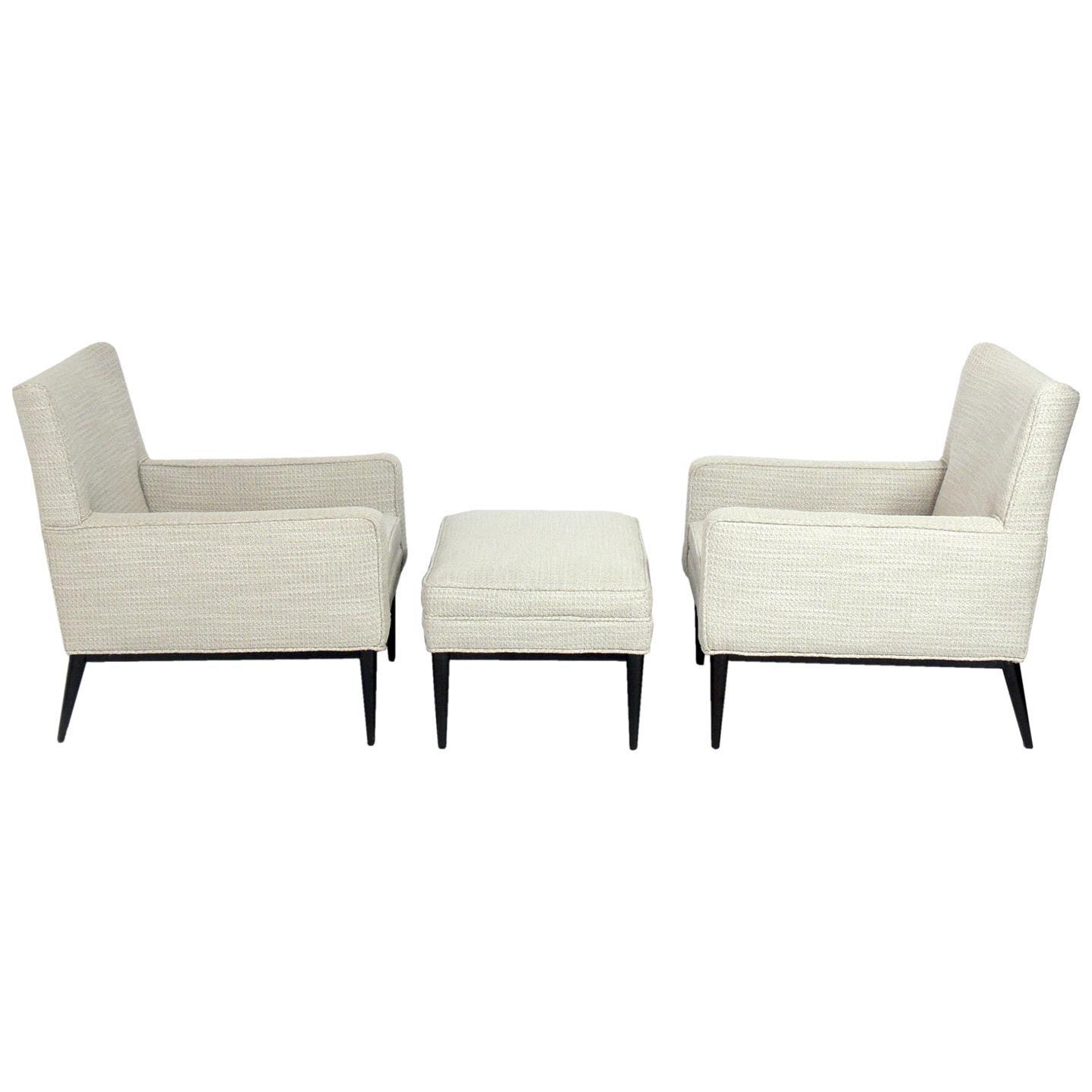 Paul McCobb Lounge Chairs and Ottoman