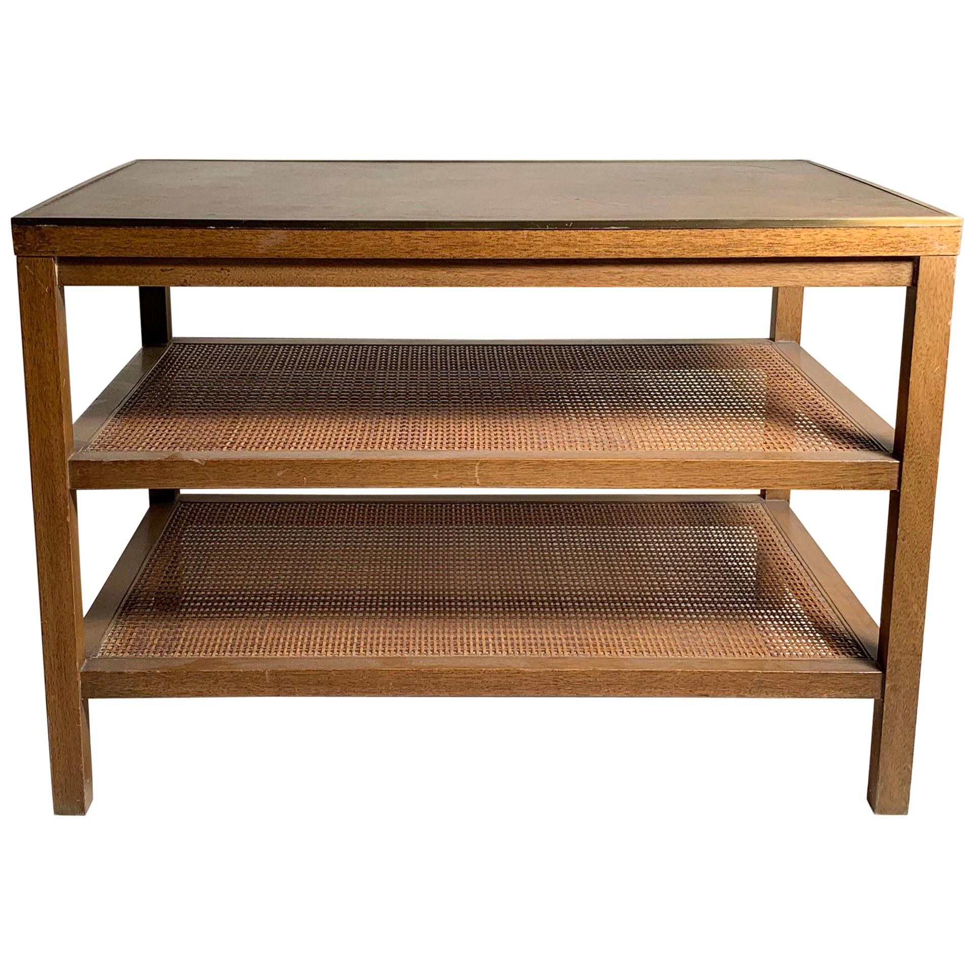 Paul McCobb Brass Inset Leather Caned Magazine Table