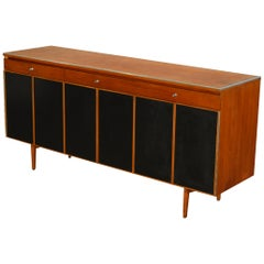 Paul McCobb Mahogany and Leather Sideboard for Calvin Furniture