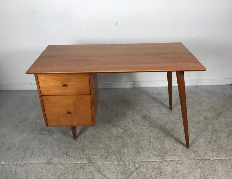 Brass Paul McCobb Maple Planner Group Desk For Sale