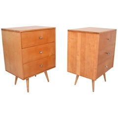 Paul McCobb Maple Lacquered Single Dressers with Silver Pulls 1950s USA - a Pair