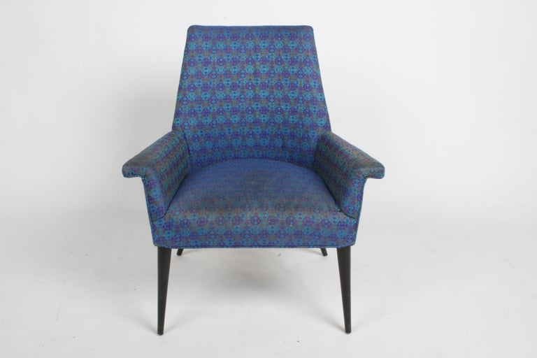 Paul McCobb (American 1917–1969) model 3049 armchair by Custom Craft, Inc. with dowel legs shown with original black stained legs and upholstery. Price includes refinishing of legs, prior to shipping. Circa 1955. Upholstery needs to be updated.
