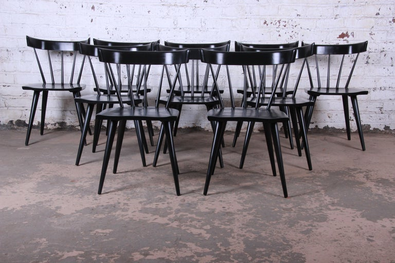 American Paul McCobb Mid-Century Modern Ebonized Planner Group Dining Chairs, Set of Ten For Sale