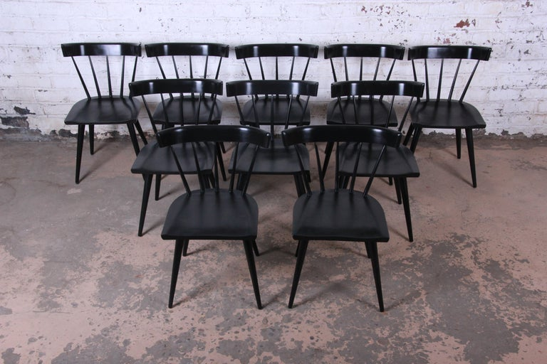 Paul McCobb Mid-Century Modern Ebonized Planner Group Dining Chairs, Set of Ten In Good Condition For Sale In South Bend, IN