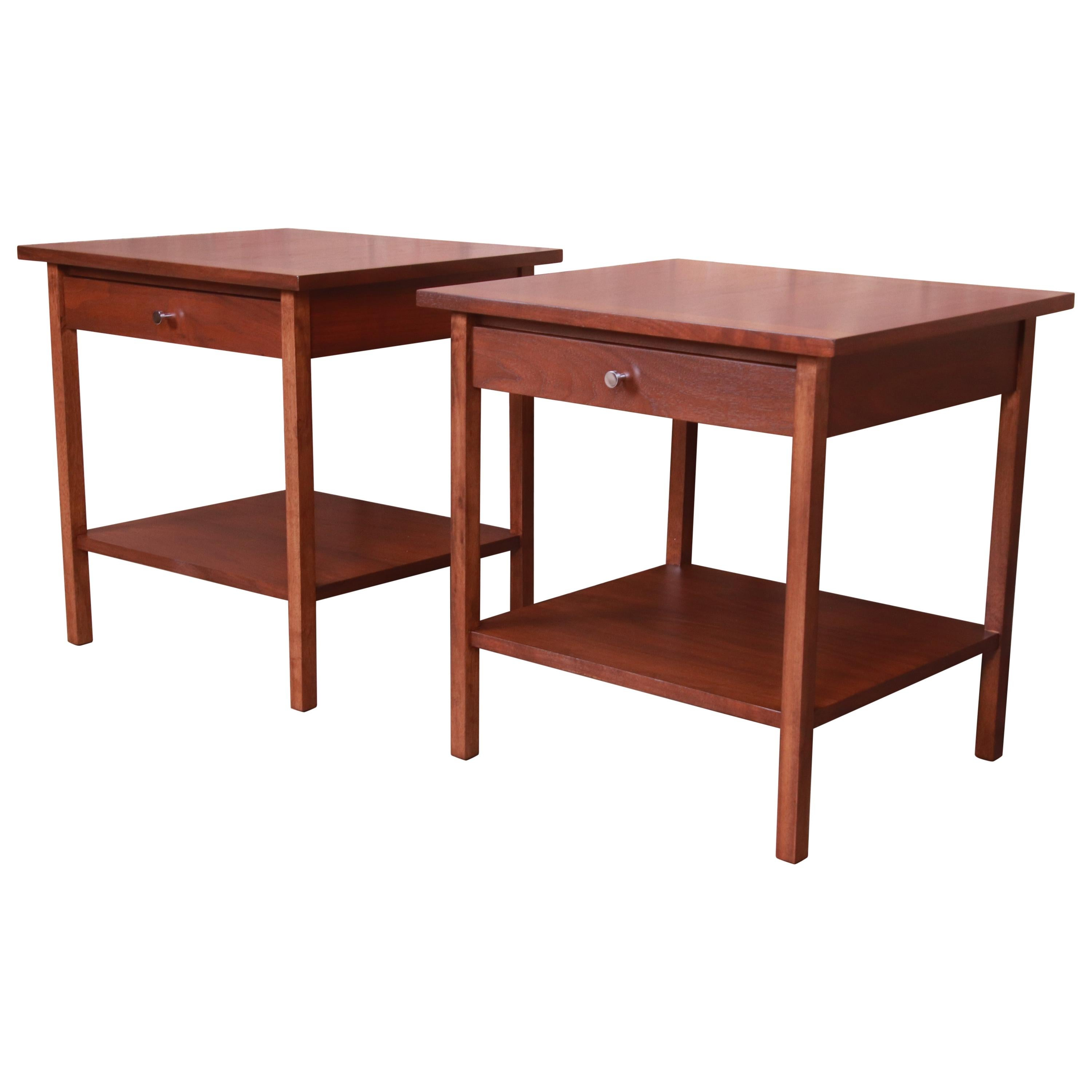 Paul McCobb Mid-Century Modern Walnut Nightstands or Side Tables, Refinished