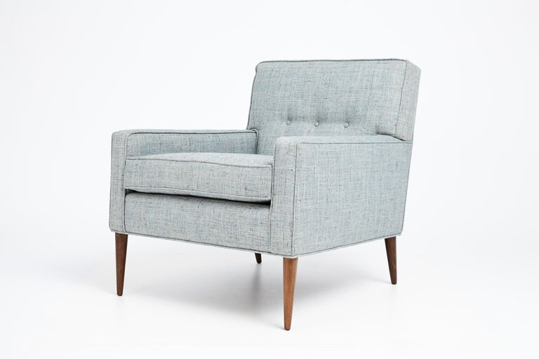 Mid-Century Modern 1950s Paul McCobb Mid Century Club Chair in Blue, Gray & Ivory Woven Fabric For Sale