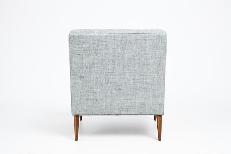 North American 1950s Paul McCobb Mid Century Club Chair in Blue, Gray & Ivory Woven Fabric For Sale