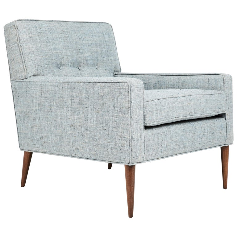 1950s Paul McCobb Mid Century Club Chair in Blue, Gray & Ivory Woven Fabric For Sale