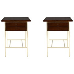 Paul McCobb Nightstands End Tables on Brass Bases