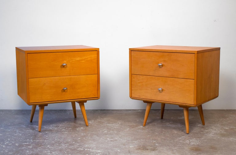 Mid-Century Modern Paul McCobb Nightstands Planner Group Series Solid Maple for Winchendon For Sale