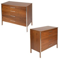 Paul McCobb Pair of Bedside Chests in Walnut and Aluminum, 1960s