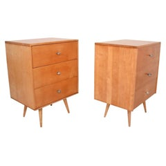 Paul McCobb Pair of Dressers Lacquered Maple Silver Pulls Americana, 1950s
