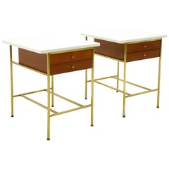 Paul McCobb Pair Side Tables / Nightstands, Brass, Mahogany, White Milk Glass.