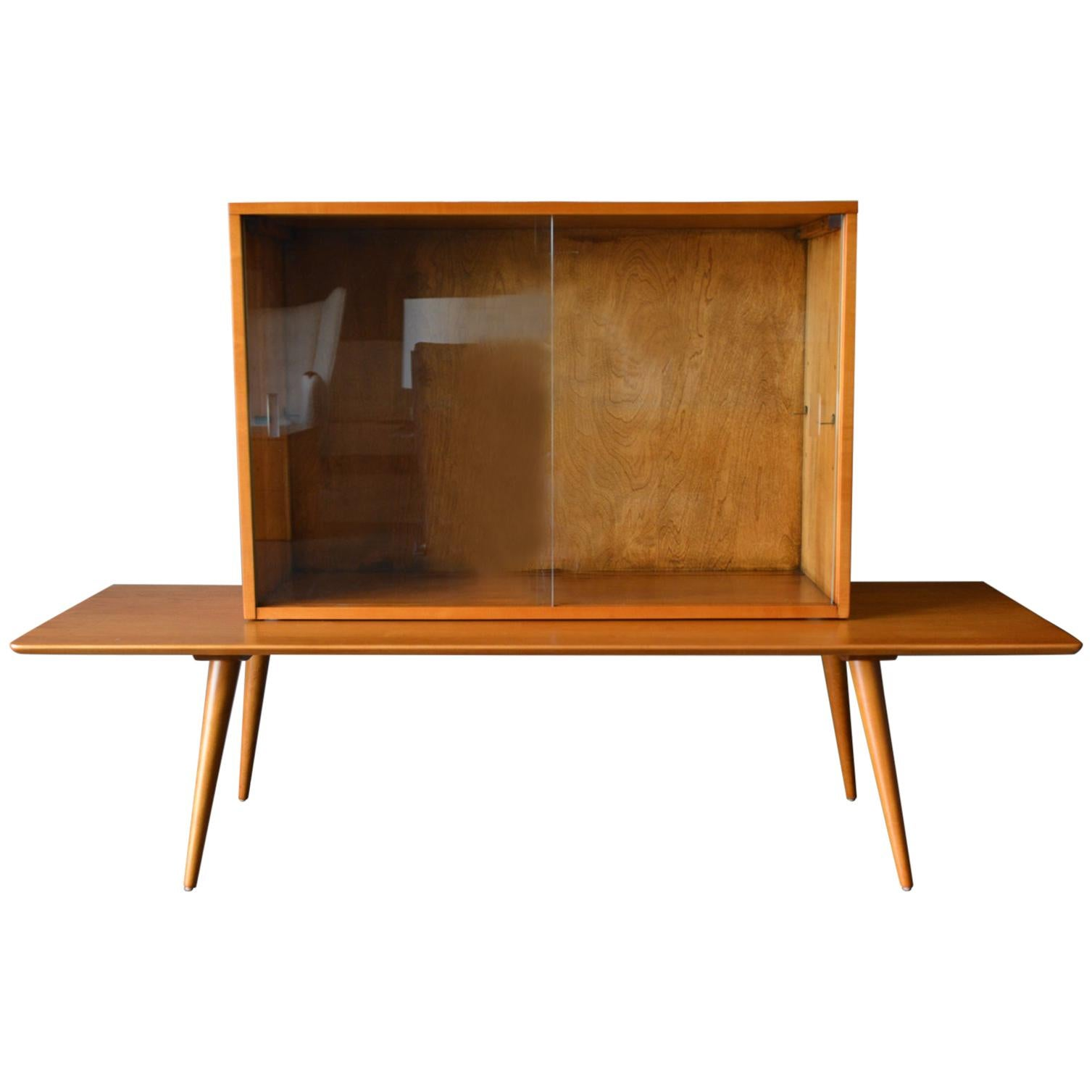 Paul McCobb Planner Group 2 Piece Modular Cabinet and Bench, 1955