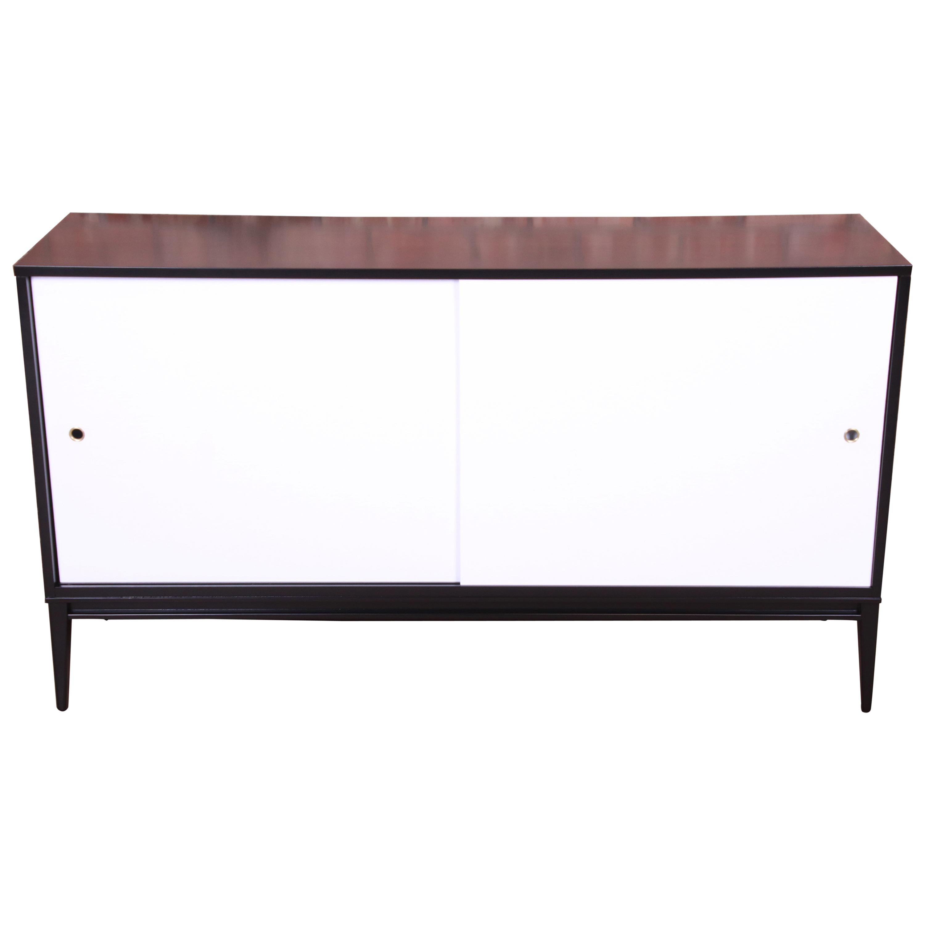 Paul McCobb Planner Group Black and White Lacquered Credenza, Newly Refinished