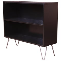 Paul McCobb Planner Group Black Lacquered Bookcase on Hairpin Legs, Refinished