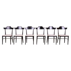 Paul McCobb Planner Group Black Lacquered Dining Chairs, Newly Refinished