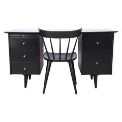 Paul McCobb Planner Group Black Lacquered Double Pedestal Desk and Chair, 1950s