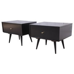 Paul McCobb Planner Group Black Lacquered Nightstands, Newly Refinished