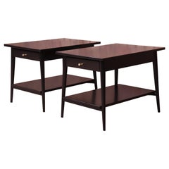 Paul McCobb Planner Group Black Lacquered Nightstands, Newly Restored