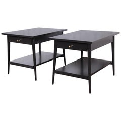 Paul McCobb Planner Group Black Lacquered Nightstands or End Tables, Restored