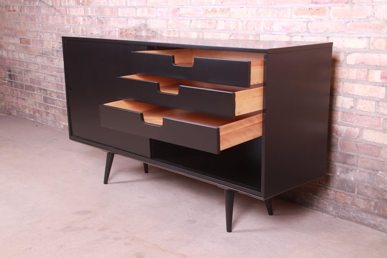 Paul McCobb Planner Group Black Lacquered Sideboard Credenza, Newly Refinished For Sale 3