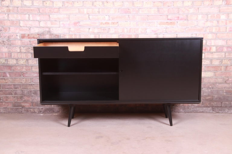 Paul McCobb Planner Group Black Lacquered Sideboard Credenza, Newly Refinished For Sale 6