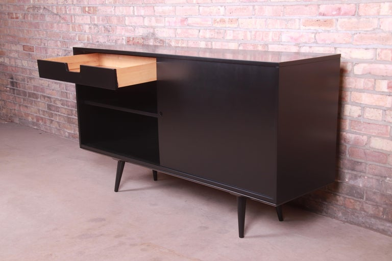 Paul McCobb Planner Group Black Lacquered Sideboard Credenza, Newly Refinished For Sale 7