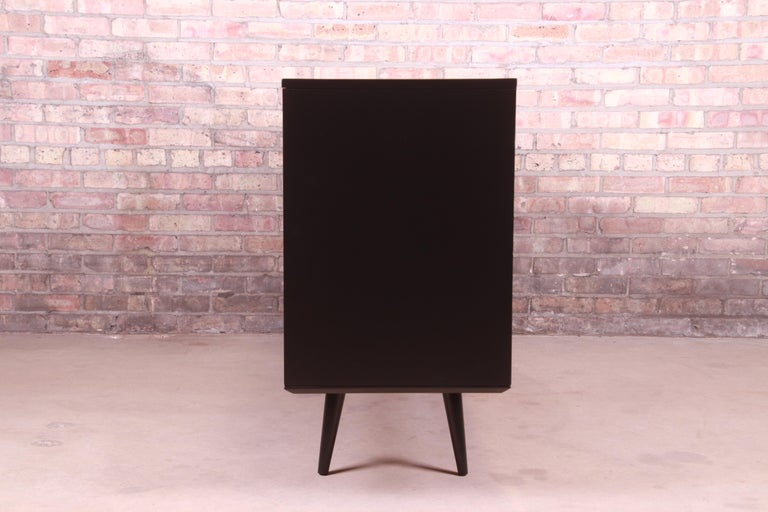 Paul McCobb Planner Group Black Lacquered Sideboard Credenza, Newly Refinished For Sale 8