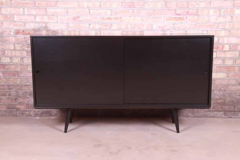 American Paul McCobb Planner Group Black Lacquered Sideboard Credenza, Newly Refinished For Sale