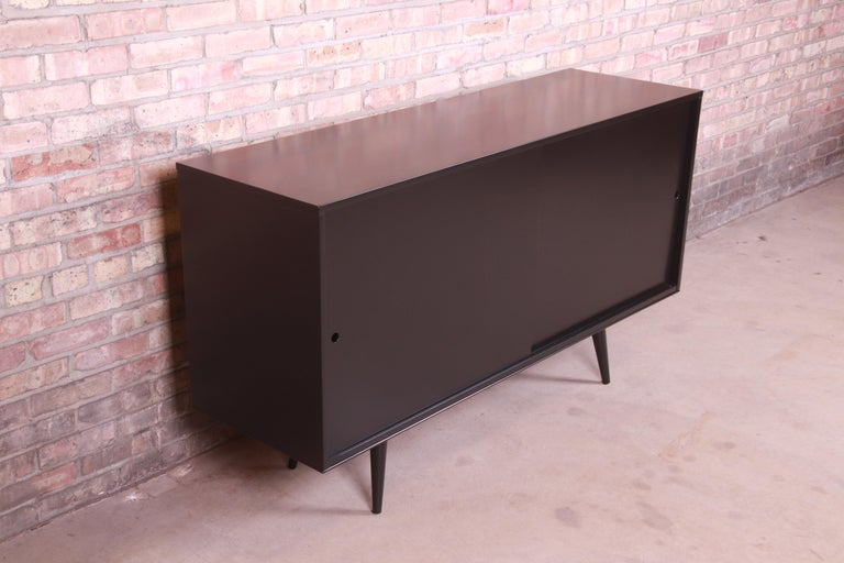 Paul McCobb Planner Group Black Lacquered Sideboard Credenza, Newly Refinished In Good Condition For Sale In South Bend, IN