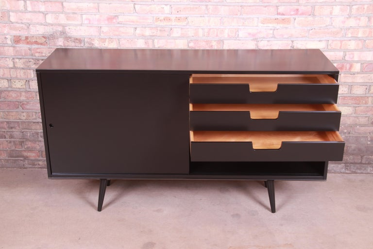 Paul McCobb Planner Group Black Lacquered Sideboard Credenza, Newly Refinished For Sale 2