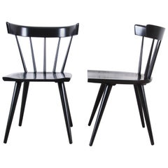 Paul McCobb Planner Group Black Lacquered Spindle Back Dining Chairs, Pair