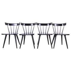 Paul McCobb Planner Group Black Lacquered Spindle Back Dining Chairs, Set of 4