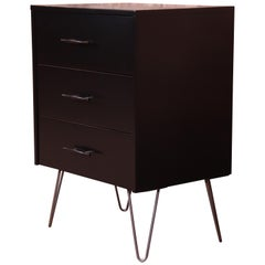 Paul McCobb Planner Group Black Lacquered Three-Drawer Chest on Hairpin Legs