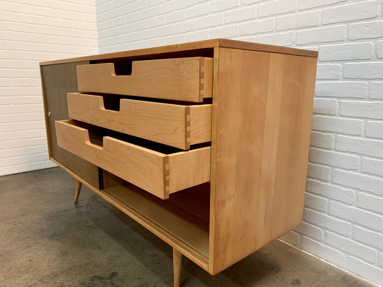 Paul McCobb Planner Group Cabinet with Original Grasscloth Doors For Sale 6