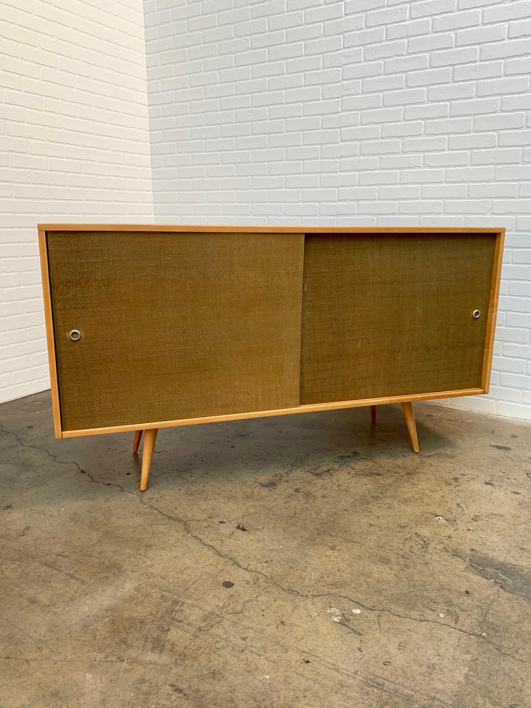 Mid-Century Modern Paul McCobb Planner Group Cabinet with Original Grasscloth Doors For Sale