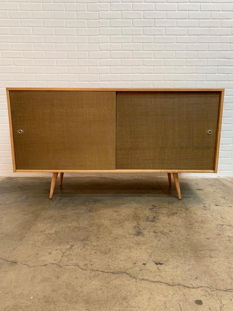American Paul McCobb Planner Group Cabinet with Original Grasscloth Doors For Sale