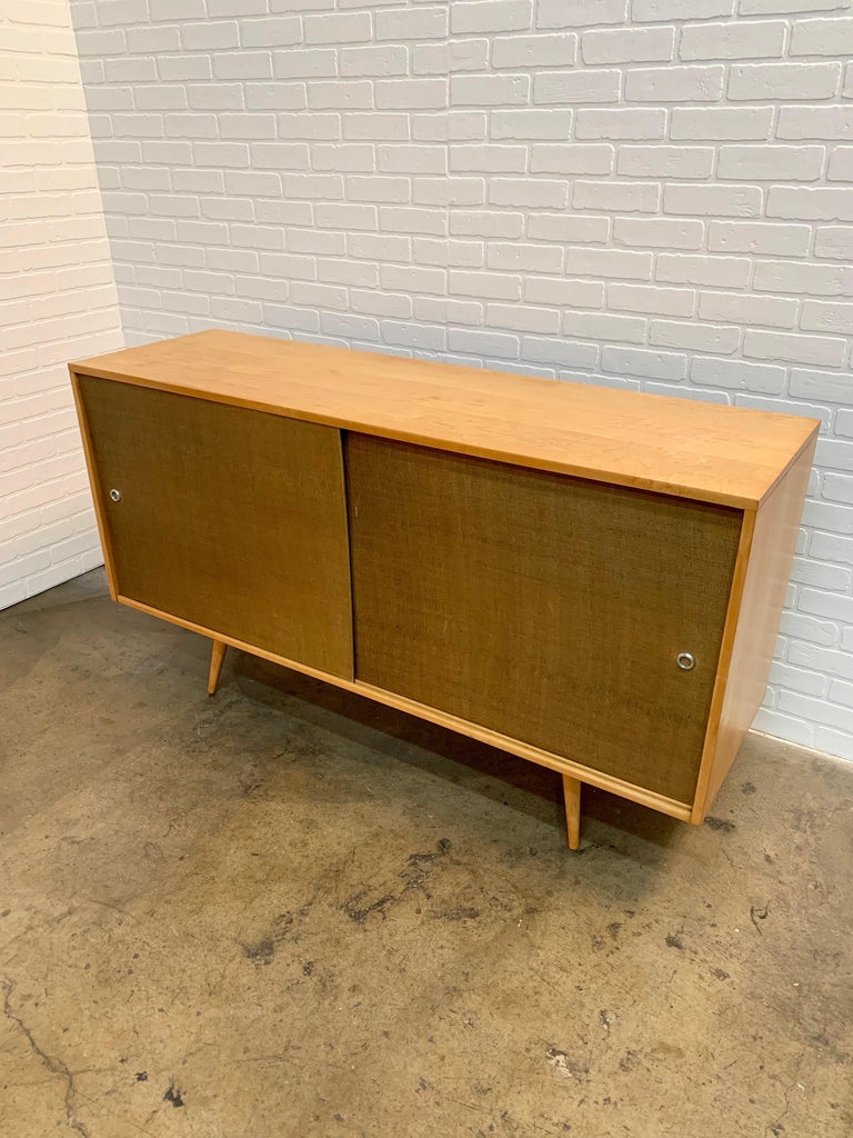 20th Century Paul McCobb Planner Group Cabinet with Original Grasscloth Doors For Sale