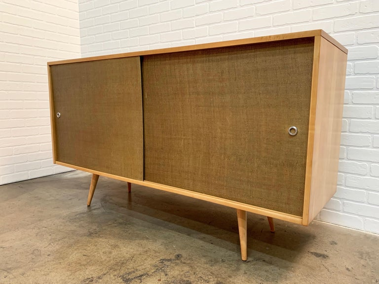 Paul McCobb Planner Group Cabinet with Original Grasscloth Doors For Sale 1