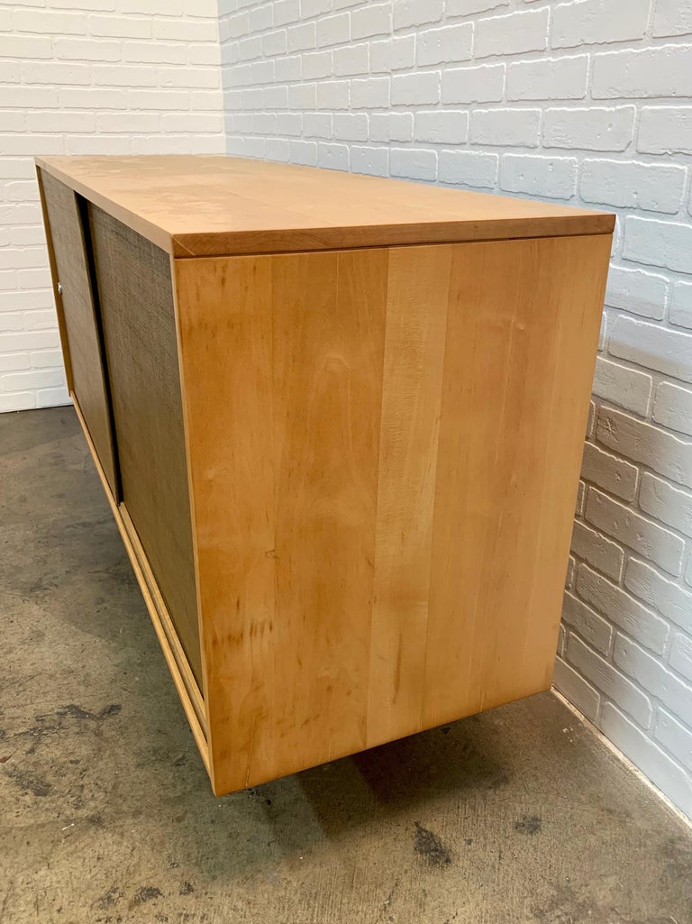 Paul McCobb Planner Group Cabinet with Original Grasscloth Doors For Sale 2